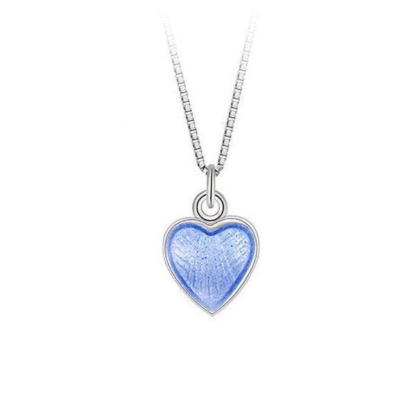 Mestergull Lite og søtt sølv hjerte anheng med lys blå emalje PIA & PER Anheng