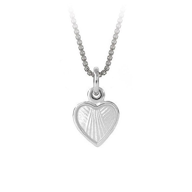 Mestergull Lite og søtt sølv hjerte anheng med hvit emalje PIA & PER Anheng