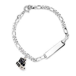 Mestergull Sølv og emalje armbånd med plate for gravering og charms i sort tog PIA & PER Armbånd