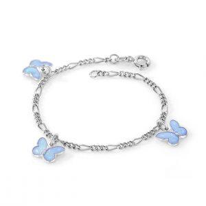 Mestergull Sølv armbånd til barn med sommerfugl charms i lys blå emalje PIA & PER Armbånd