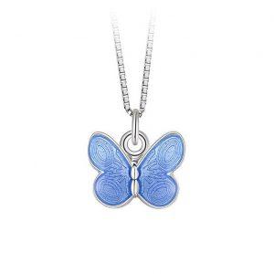 Mestergull Anheng med sommerfugl i sølv og lys blå emalje PIA & PER Anheng
