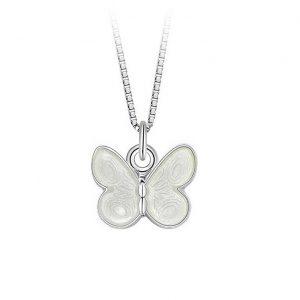 Mestergull Anheng med sommerfugl i sølv og hvit emalje PIA & PER Anheng