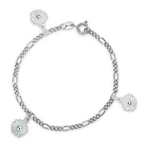 Mestergull Armbånd i sølv prestrakrage charms i hvit emalje PIA & PER Armbånd
