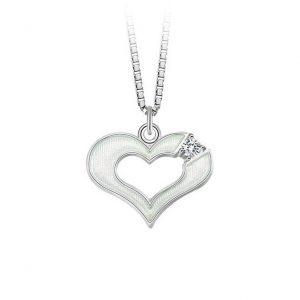 Mestergull Sølv hjerte angeng i hvit emalje og klar sten PIA & PER Anheng