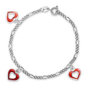 Mestergull Sølv og emalje armbånd med charms i åpne hjerter og rød emalje PIA & PER Armbånd