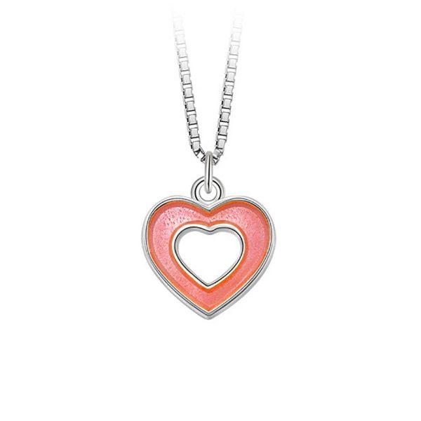 Mestergull Sølv og emalje anheng med åpne hjerter i rosa emalje PIA & PER Anheng
