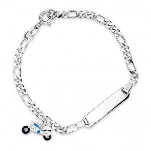 Mestergull Sølv og emalje armbånd med plate for gravering og charms i blå motorsykkel PIA & PER Armbånd