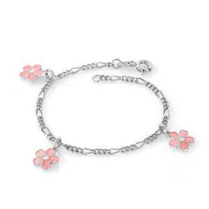 Mestergull Sølv armbånd med charms i blomster med rosa emalje PIA & PER Armbånd