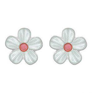 Mestergull Sølv ørepynt med blomster i hvit og rosa emalje PIA & PER Ørepynt