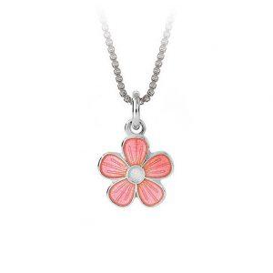 Mestergull Sølv anheng med blomster i rosa emalje PIA & PER Anheng