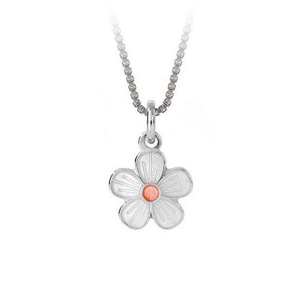 Mestergull Sølv anheng med blomster i hvit og rosa emalje PIA & PER Anheng