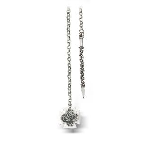 Mestergull Kjede i oksidert sølv. Lengden er 100 cm. NORSK BUNADSØLV Kjede