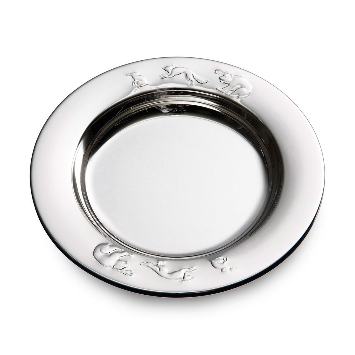 Mestergull Sølv grøtskål i mønsteret Bjørn, Rev & Hare B-R-H Skål / Tallerken