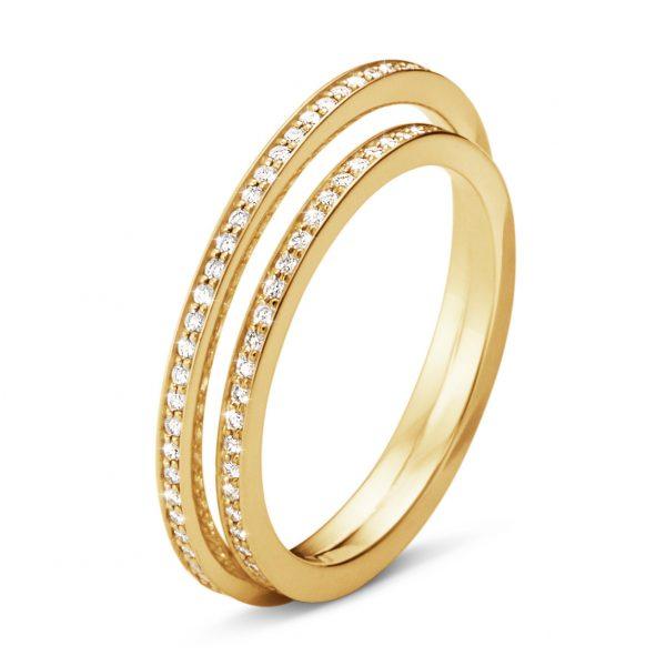 Mestergull HALO ring i 18 kt. gult gull med brilliantslipte diamanter. Antall av diamanter og vekt i karat varierer med ringstørrelsen GEORG JENSEN Halo Ring