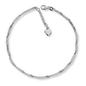 Mestergull Søt ankellenke i sølv med hjerte MESTERGULL Ankellenke