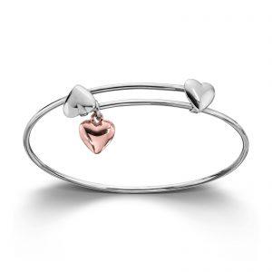Mestergull Søt armring til barn i sølv med rosèforgylt hjerte MG BASIC Armring