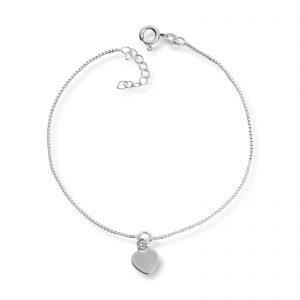 Mestergull Enkel ankellenge i sølv med hjerte charm MESTERGULL Ankellenke