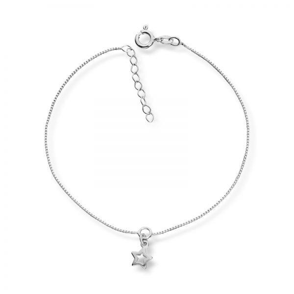 Mestergull Enkel ankellenge i sølv med charm MESTERGULL Ankellenke