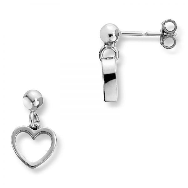 Mestergull Ren hjerteørepynt i rhodinert sølv med heng MG BASIC Ørepynt