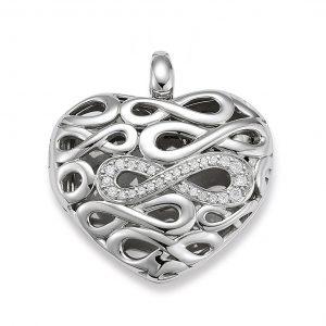 Mestergull Flott hjertemedaljong i rhodinert sølv med cubic zirkonia VIVENTY Anheng