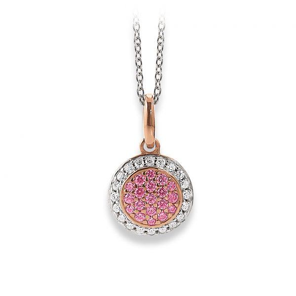 Mestergull Tøft anheng i rosèforgylt sølv med hvite og rosa cubic zirkonia VIVENTY Anheng