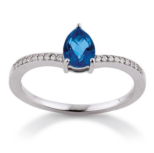 Mestergull Flott ring i rhodinert sølv med blå topas og cubic zirkonia VIVENTY Ring