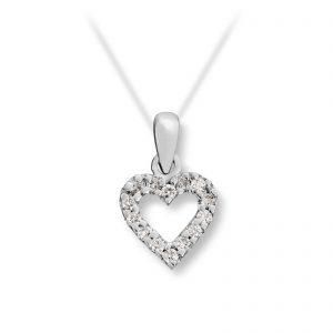 Mestergull Stilrent hjerteanheng i hvitt gull med diamanter MG BASIC Anheng