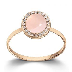 Mestergull Lekker ring i gult gull med cubic zirkonia og rosa krystall MESTERGULL Ring