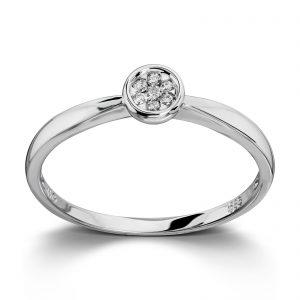 Mestergull Elegant ring i hvitt gull med diamatner MG DIAMONDS Ring