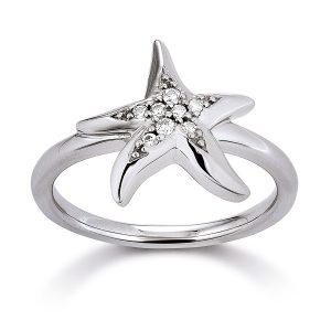Mestergull Flott ring med stjerne i rhodinert sølv med cubic zirkonia VIVENTY Ring