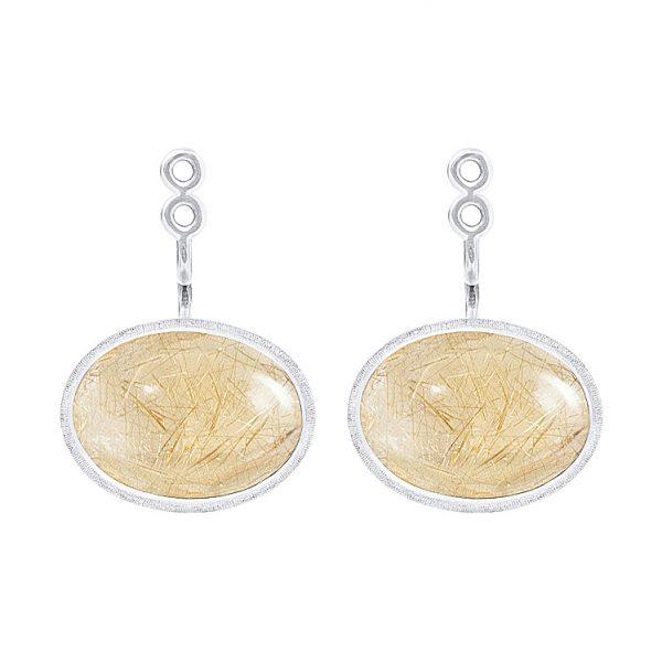 Mestergull Vedheng par til Lotus ørepynt i 18 kt. Hvitt gull med rutilkvarts. LYNGGAARD Lotus Ørepynt