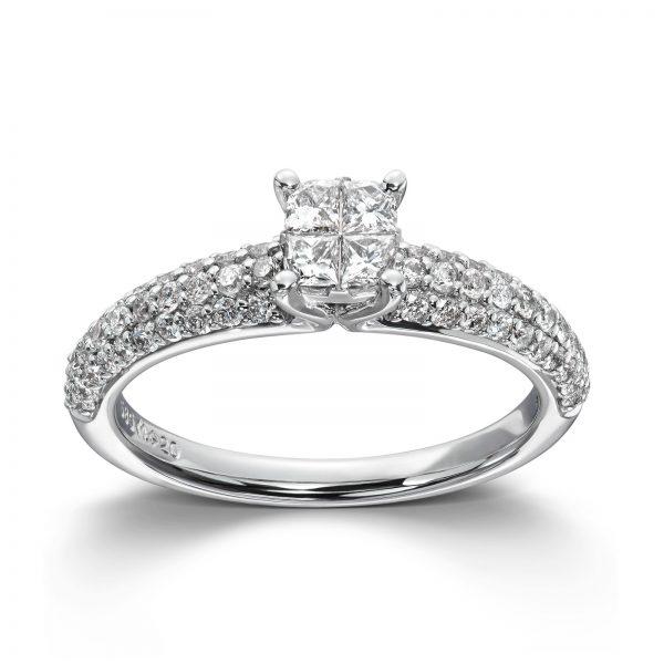 Mestergull Vakker ring i hvitt gull med diamanter- frieri og forlovelse MG DIAMONDS Ring