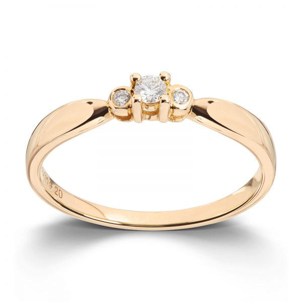 Mestergull Klassisk ring i gult gull med diamanter MG DIAMONDS Ring