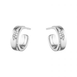 Mestergull Fusion små øreringer i hvitt gull med diamanter GEORG JENSEN Fusion Ørepynt