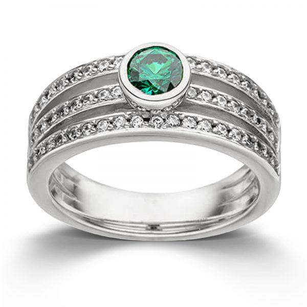 Mestergull Elegant ring i rhodinert sølv med grønn og hvit cubic zirkonia VIVENTY Ring