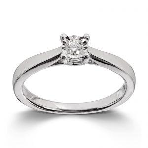 Mestergull Klassisk ring i hvitt gull med diamant MG DIAMONDS Ring