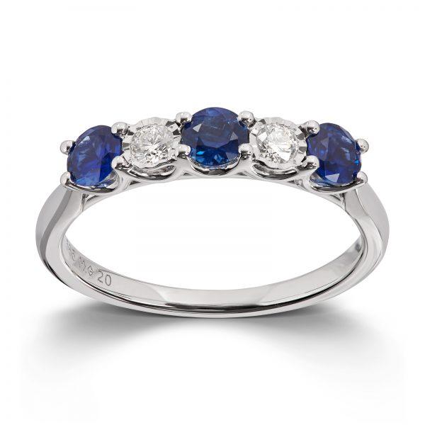 Mestergull Klassisk ring i hvitt gull med safirer og diamanter MG DIAMONDS Ring