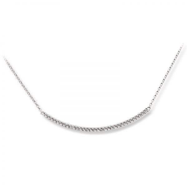 Mestergull Delikat kjede i hvitt gull med diamanter MG DIAMONDS Kjede