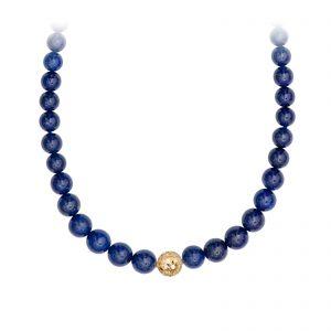 Mestergull Kjede med lapis lazuli tredd i forløp med dupper for å brukes til lås. Evil eye i 18kt Gult gull (ikke lås). 83 cm. LYNGGAARD Kjede