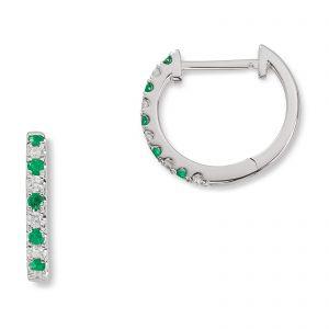 Mestergull Trendy øreringer i hvitt gull med smaragder og diamanter MG DIAMONDS Ørepynt