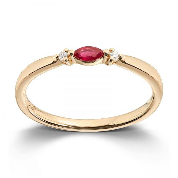 Mestergull Trendy ring i gult gull med rubin og diamanter MG DIAMONDS Ring