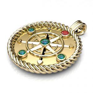 Mestergull Maritimt herreanheng i gult gull 585 formet som et kompass og fattet med rubin og safirer DESIGN STUDIO Spesialdesign Anheng