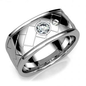 Mestergull Massiv herrering i hvitt gull 585 med 2 diamanter, totalt 0,29 ct. HSI DESIGN STUDIO Spesialdesign Ring