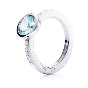 Mestergull Nydelig ring i hvitt eller gult gull med aquamarine og diamanter EFVA ATTLING High Aqua Ring