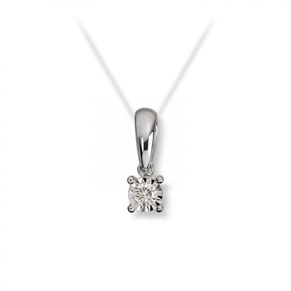 Mestergull Klassisk anheng i hvitt gull med diamant MG DIAMONDS Anheng