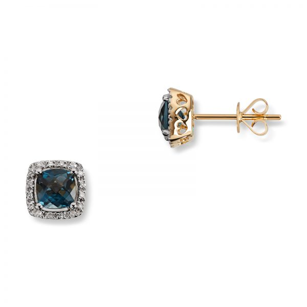 Mestergull Lekker ørepynt i gult gull med London blue topas og diamanter MG DIAMONDS Ørepynt
