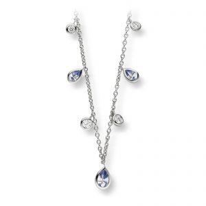 Mestergull Delikat kjede i rhodinert sølv med hvite og lys blå cubic zirkonia VIVENTY Kjede