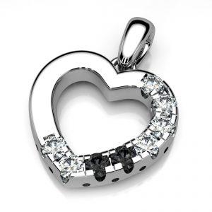 Mestergull Allianseanheng i hvitt gull 585. Formen er utarbeidet med kraftig form slik at nye diamanter kan fattes senere. Fattet med 8 diamanter à 0,04 ct. Hvite brillianter HSI og sorte diamanter. Totalt 0,32 ct. DESIGN STUDIO Spesialdesign Anheng