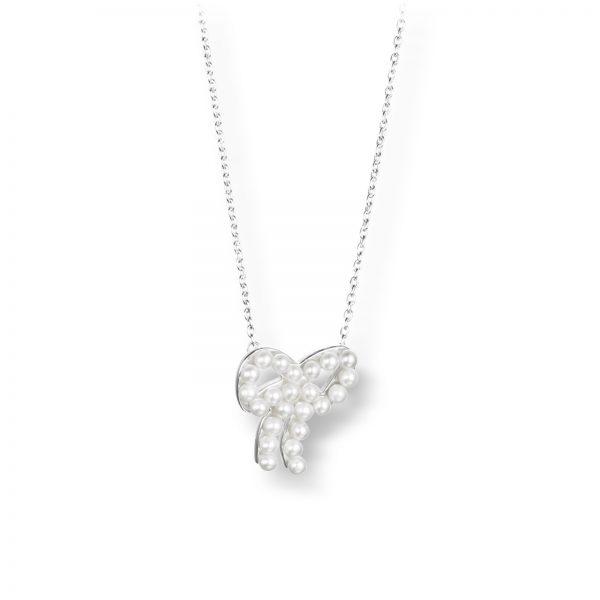 """Mestergull Vakkert kjede i sølv med ferskvannsperler - """"A bow with pearls makes me think of Paris"""" - Efva Attling EFVA ATTLING Mini Pearls Bow Kjede"""