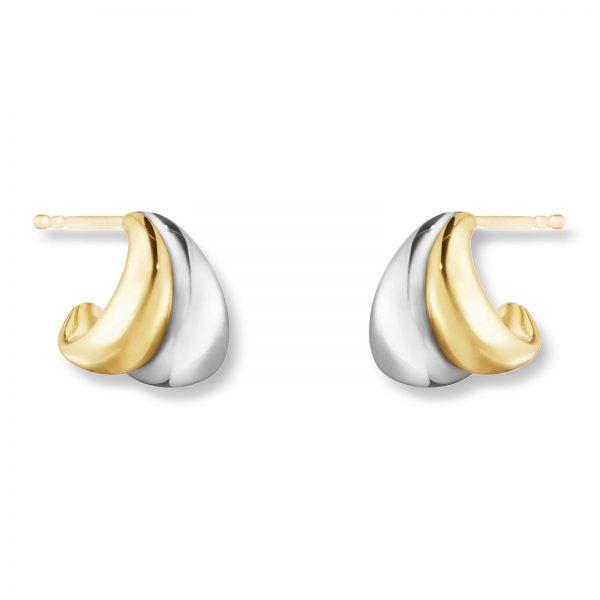 Mestergull Curve organiske og skulpturell ørepynt i gult gull og sølv - small GEORG JENSEN Curve Ørepynt